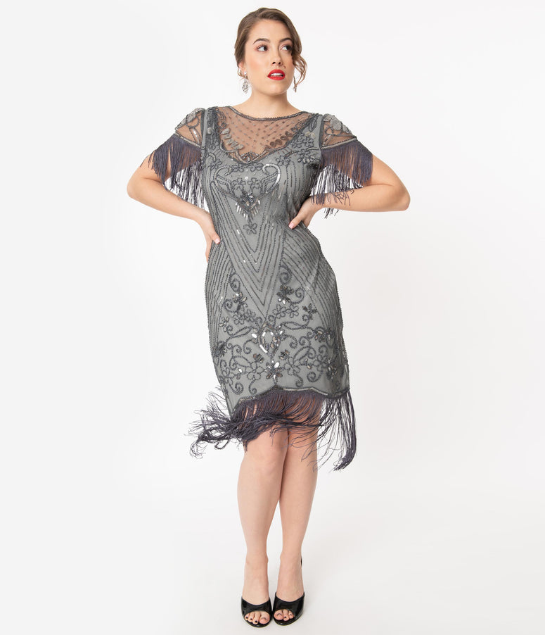 Unique Vintage 1920s Grey Beaded Nadine Flapper Dress