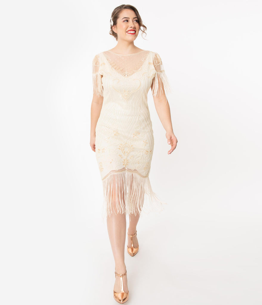 Unique Vintage 1920s Ivory Beaded Nadine Flapper Dress