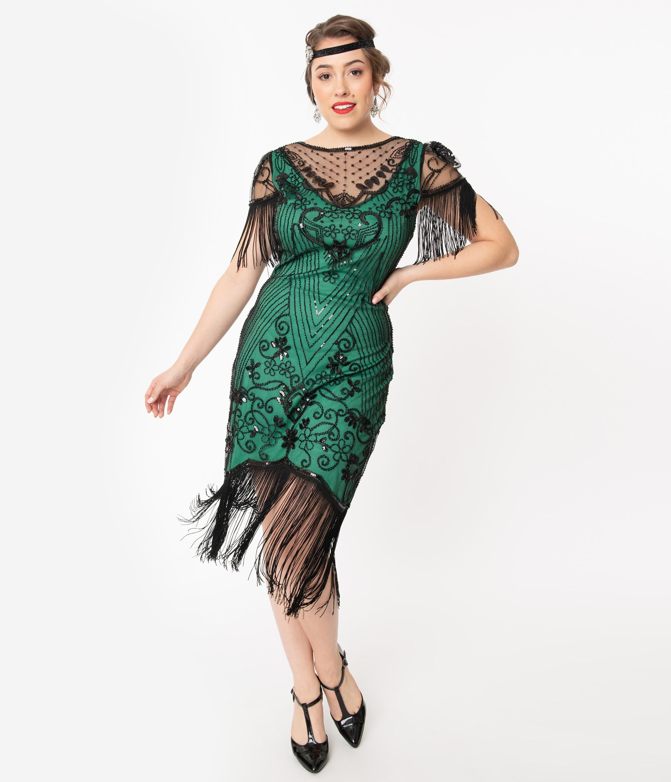 1920s Party Dresses, Great Gatsby Gowns, Prom Dresses Unique Vintage 1920S Green  Black Beaded Nadine Flapper Dress $78.00 AT vintagedancer.com