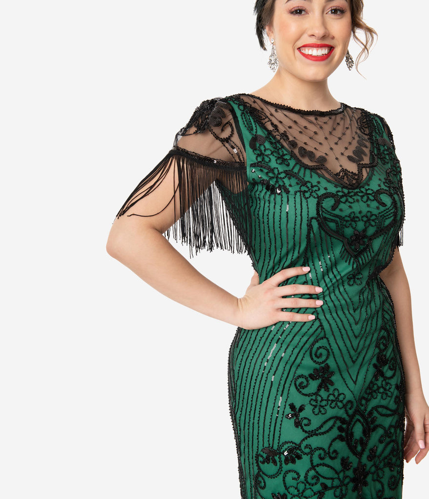 Unique Vintage 1920s Green & Black Beaded Nadine Flapper Dress