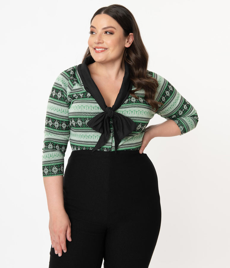 Unique Vintage Plus Size 1950s Green Snowflake Fair Isle Charlotte Top