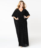 Unique Vintage Black Deco Print Velvet Liz Caftan Dress
