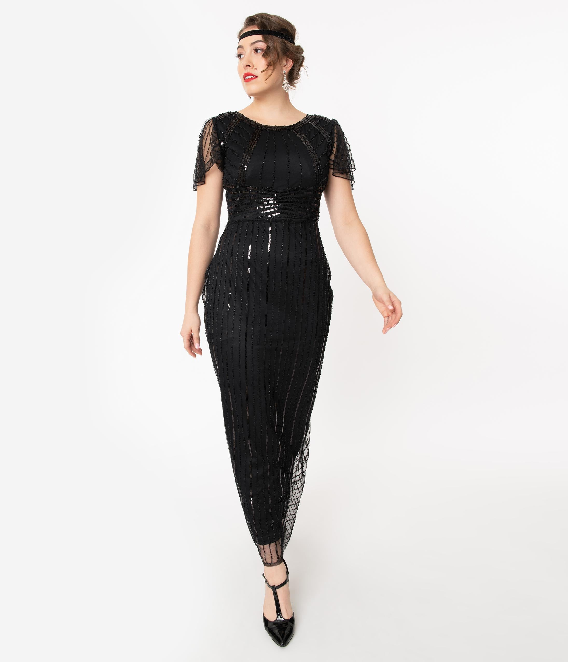 1920s Style Dresses, 20s Dresses Unique Vintage 1920S Black Sequin Tess Flapper Gown $110.00 AT vintagedancer.com