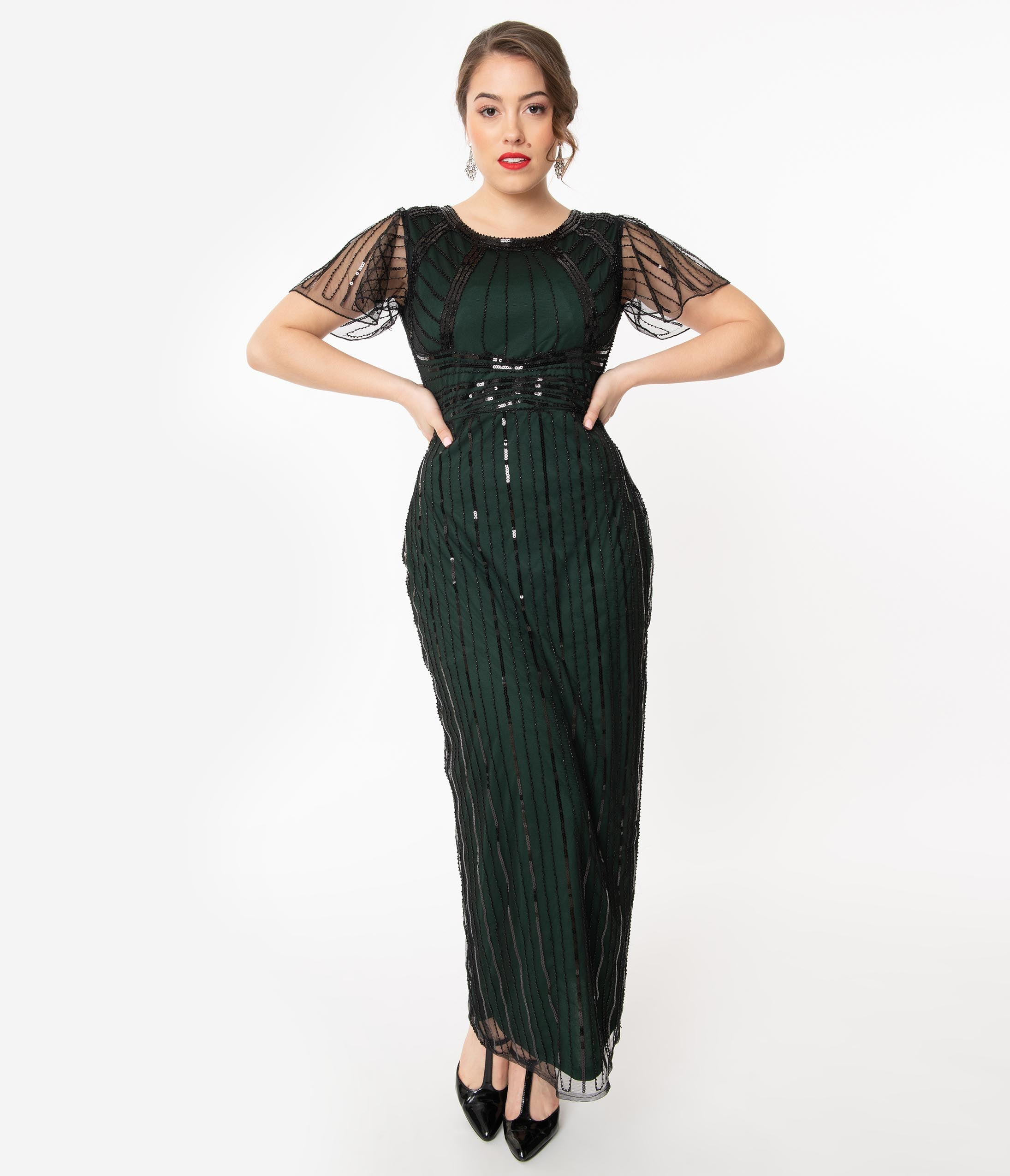 1920s Formal Dresses & Evening Gowns Guide Unique Vintage 1920S Emerald  Black Sequin Tess Flapper Gown $110.00 AT vintagedancer.com