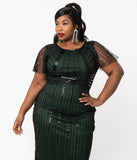 Unique Vintage Plus Size 1920s Emerald & Black Sequin Tess Flapper Gown