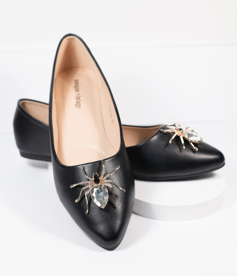 Unique Vintage Black Spider Evie Flats