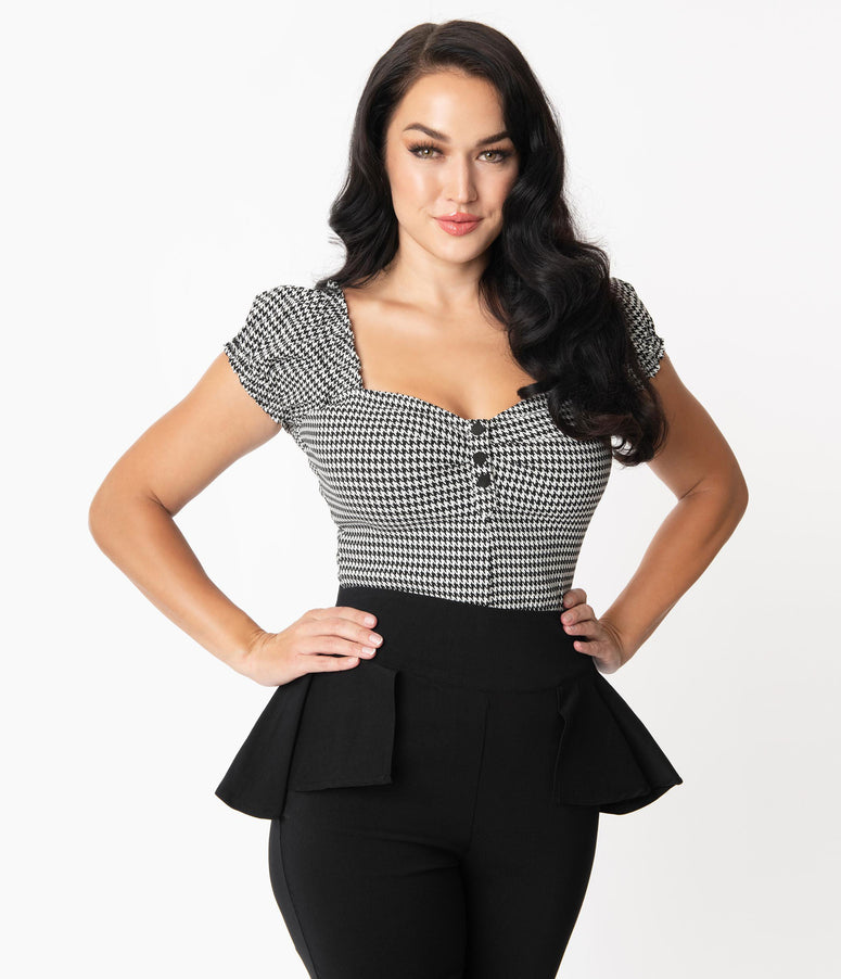 Unique Vintage Black & White Houndstooth Sweetheart Loretta Top