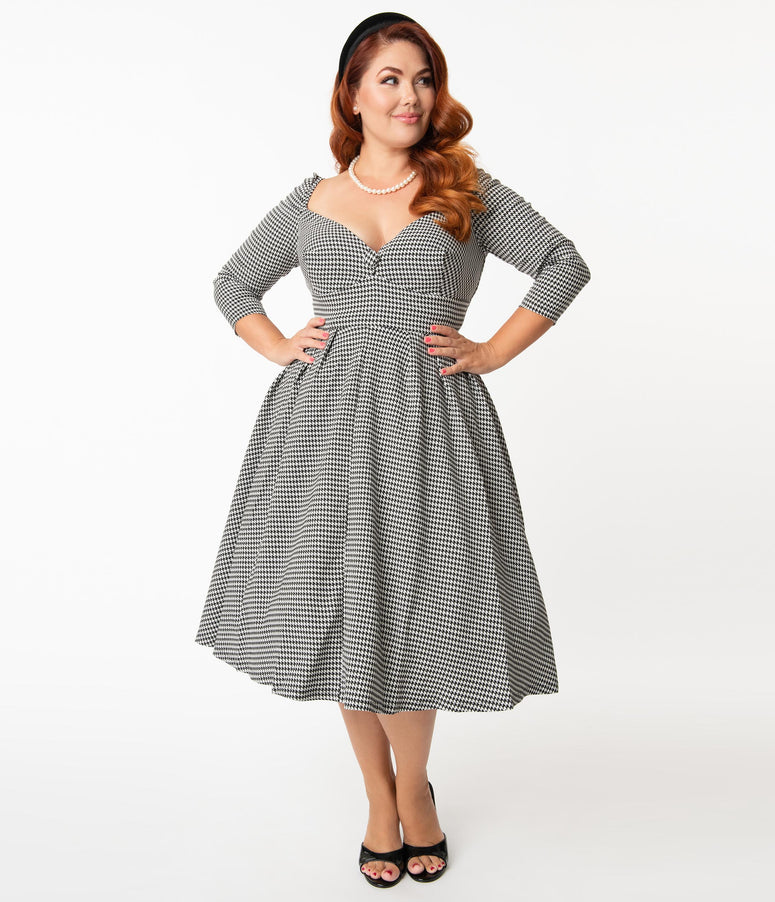 Unique Vintage Plus Size Black & White Houndstooth Lamar Swing Dress