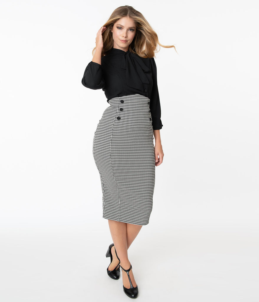 Unique Vintage Black & White Houndstooth Sailor Sierra Pencil Skirt