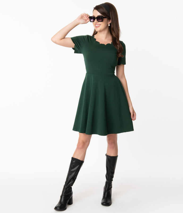 Smak Parlour Hunter Green Charmed Fit & Flare Dress