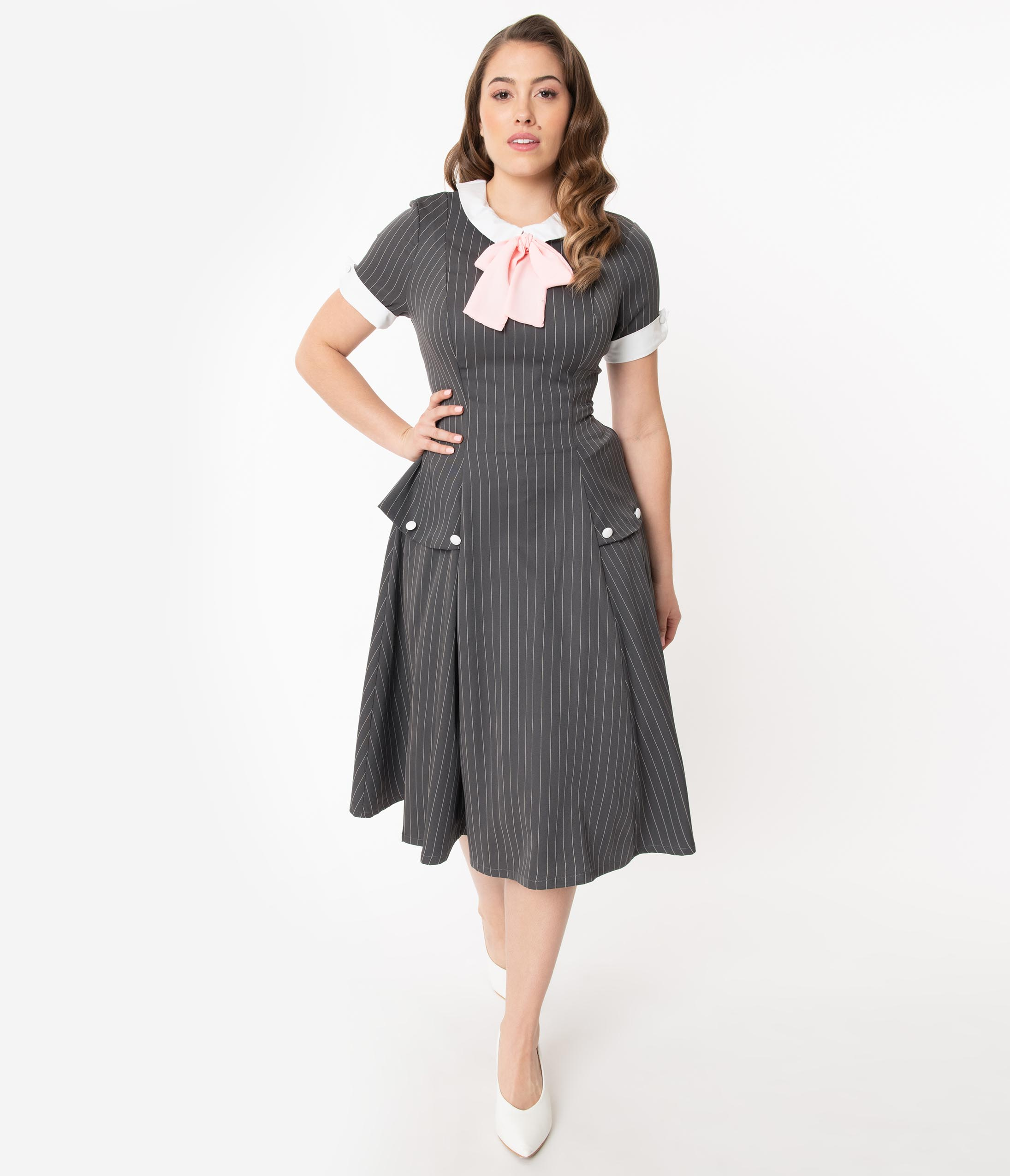 1940s Fashion Advice for Tall Women Unique Vintage 1940S Charcoal Pinstripe Manchester Swing Dress $78.00 AT vintagedancer.com