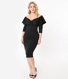 Unique Vintage 1960s Black Mae Wiggle Dress