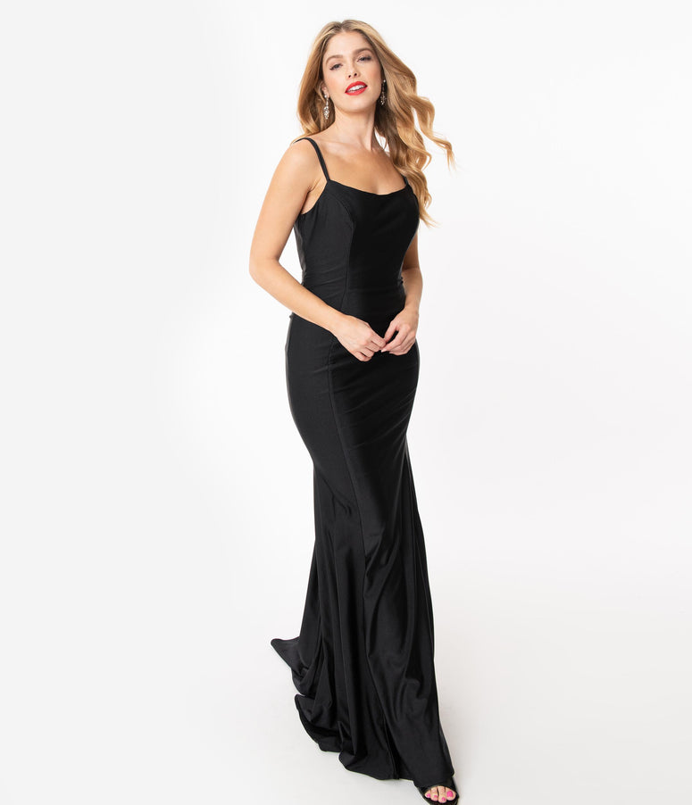 Black Cross Back Fitted Long Dress