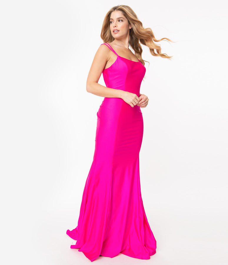 Fuchsia Pink Cross Back Fitted Long Dress