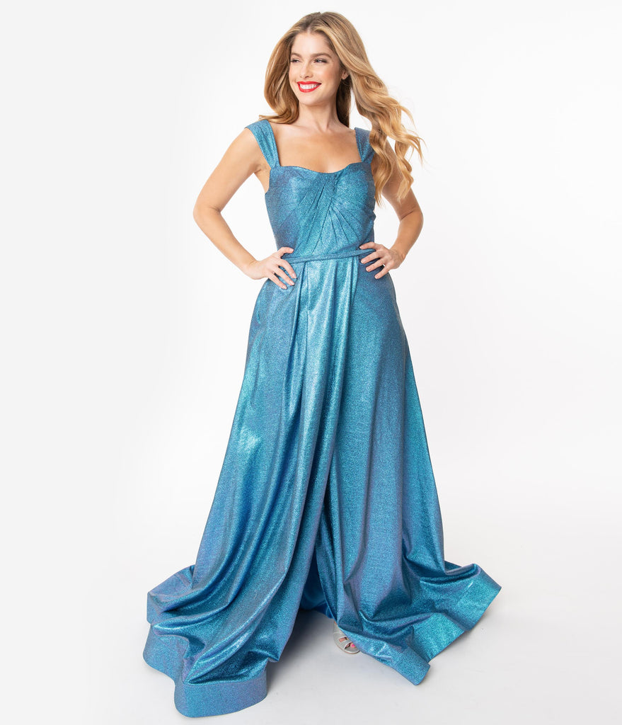 Metallic Blue Sparkle Off Shoulder Gown