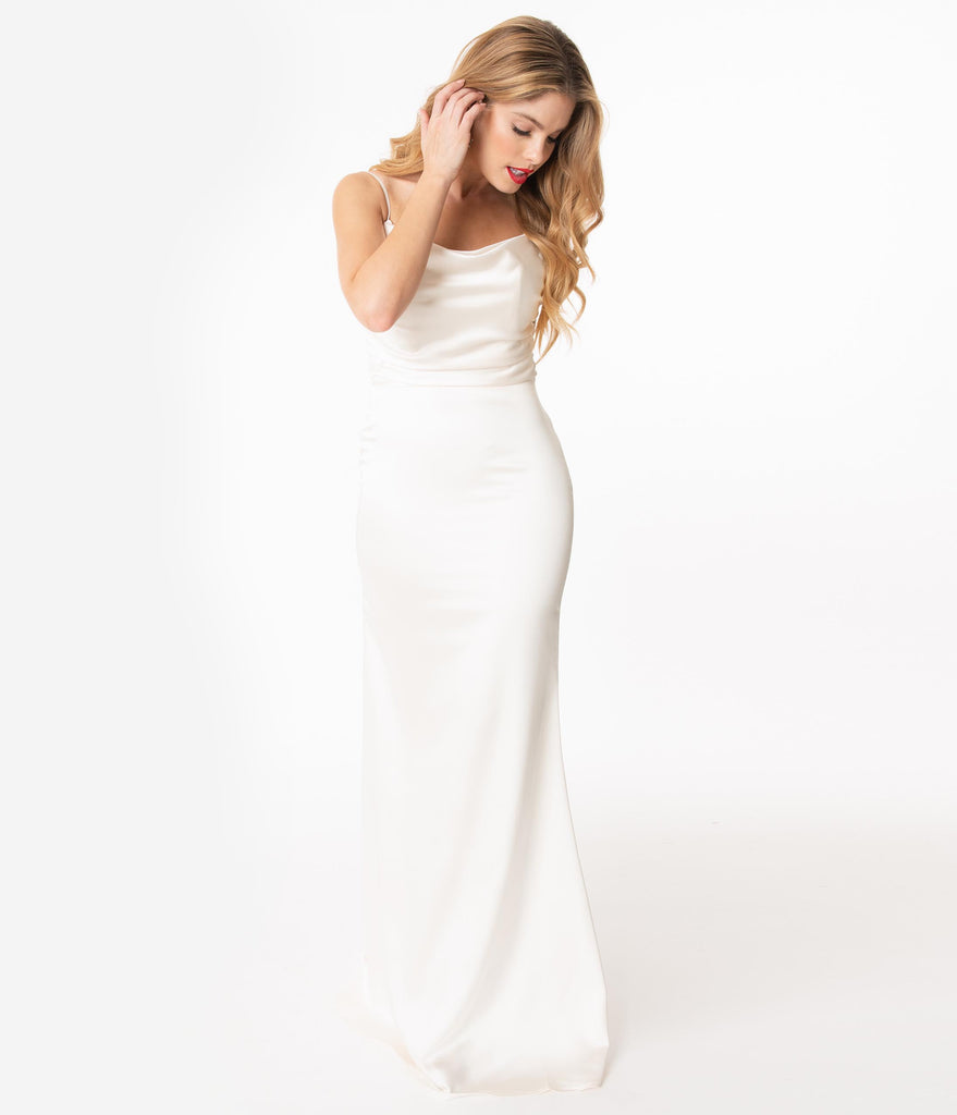 Cream Sleeveless Satin Fitted Long Dress