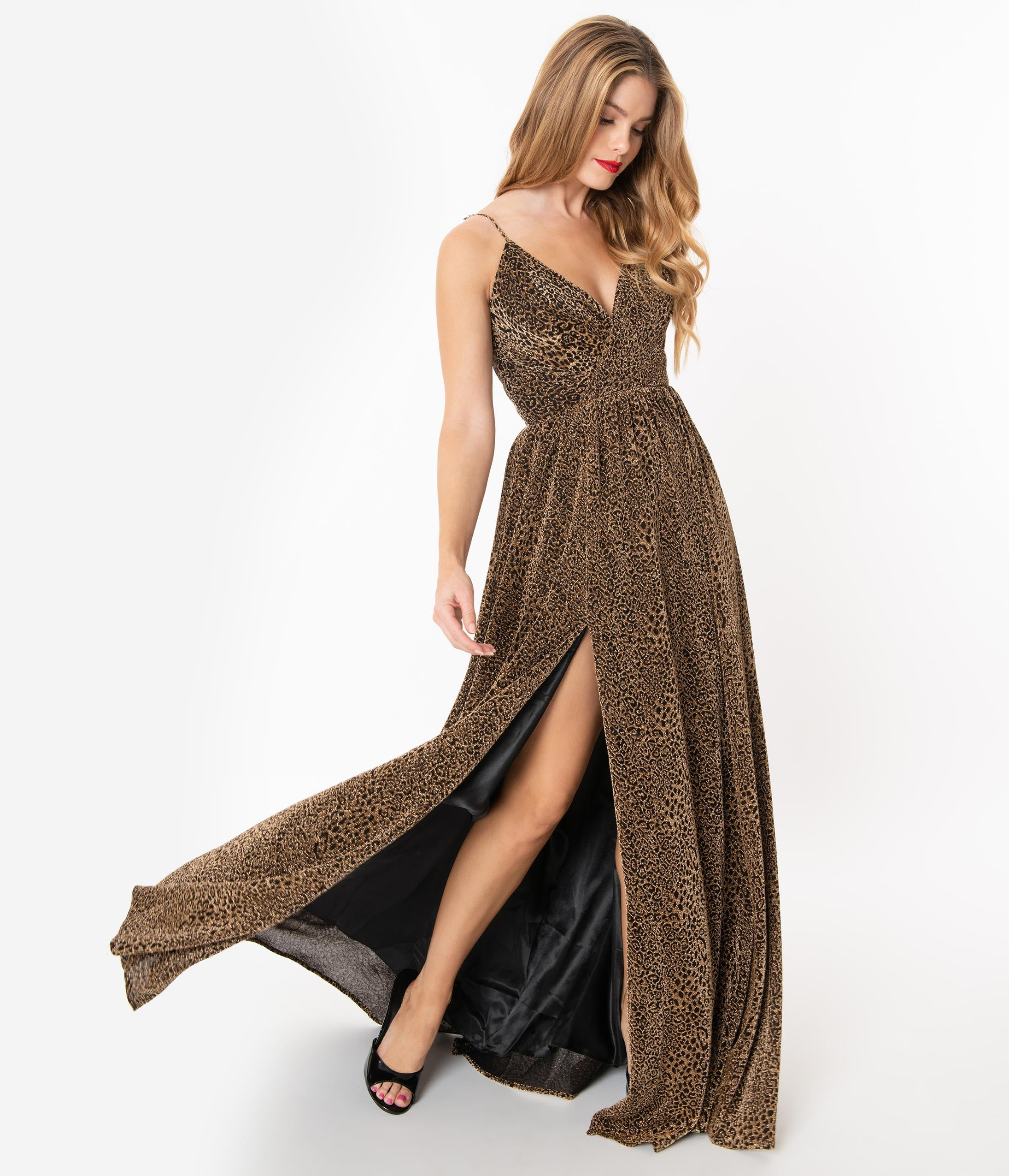 70s Prom, Formal, Evening, Party Dresses Black  Metallic Gold Leopard Sexy Long Dress $208.00 AT vintagedancer.com