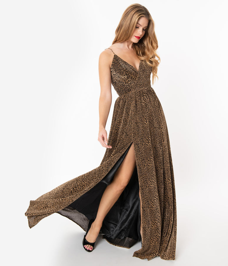 Black & Metallic Gold Leopard Sexy Long Dress