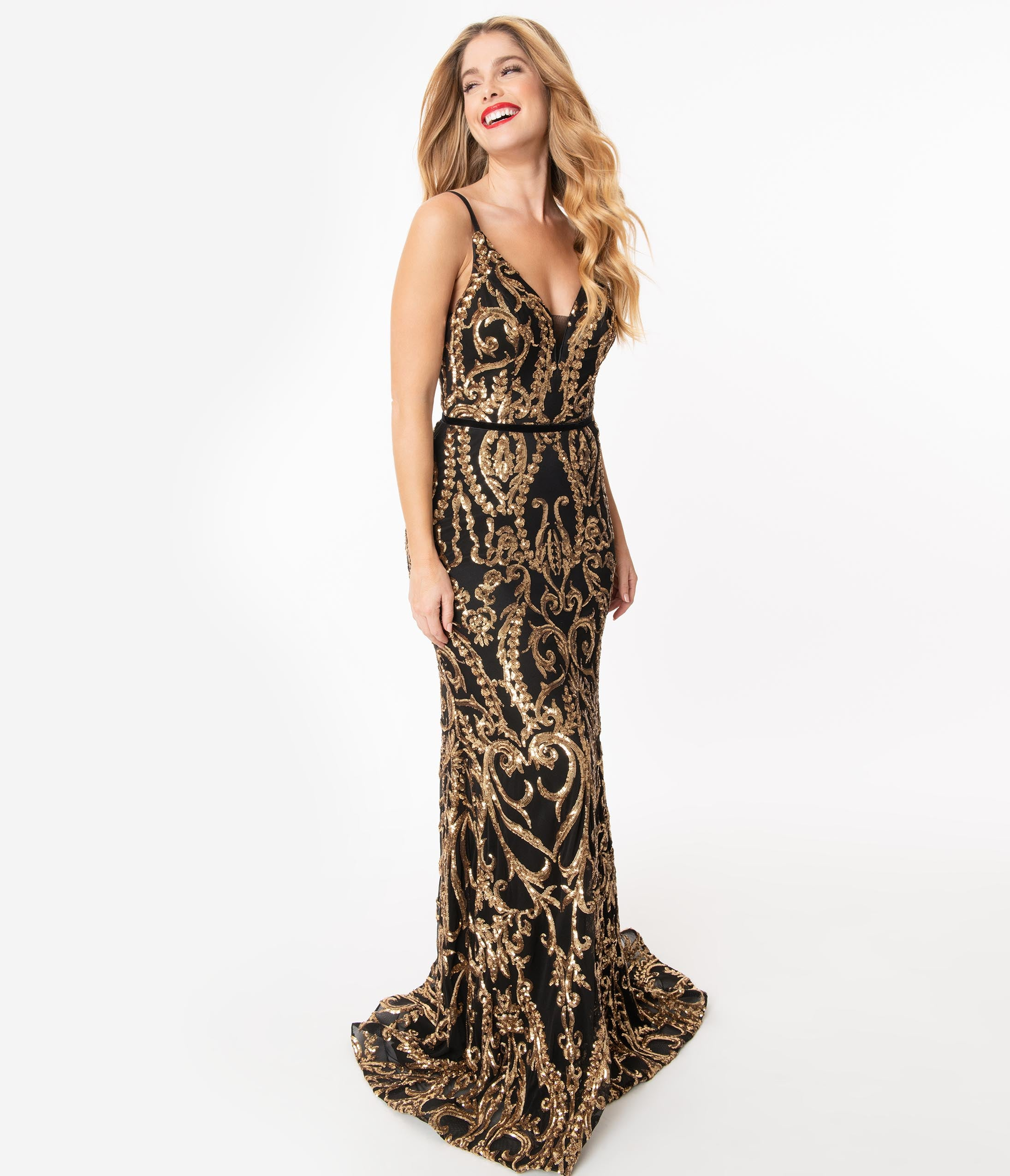 70s Prom, Formal, Evening, Party Dresses Black  Gold Sequin Sleeveless Sexy Gown $198.00 AT vintagedancer.com