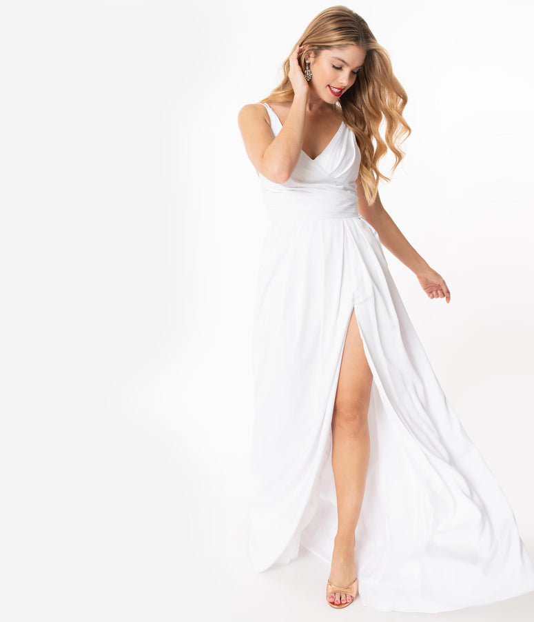 White Sleeveless Pleated Long Evening Gown