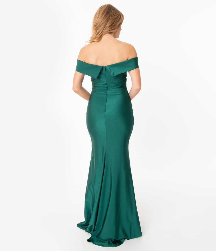 Emerald Off Shoulder Fitted Trumpet Gown