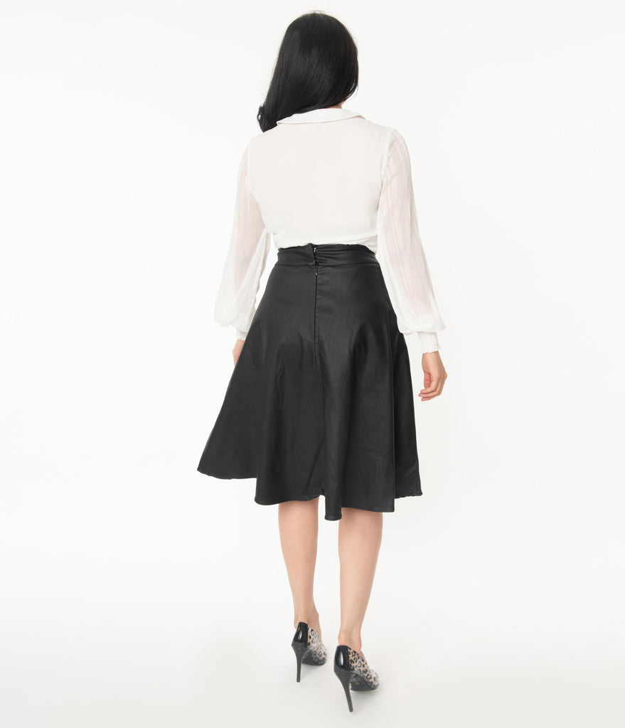 Unique Vintage Retro Black Vegan Leather Vivien Swing Skirt