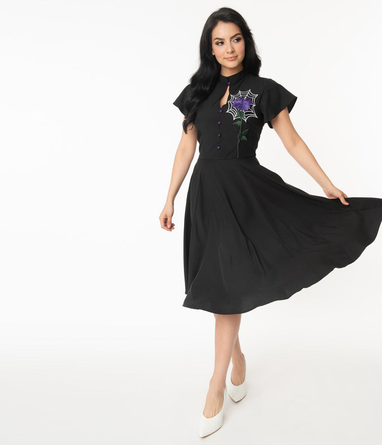Unique Vintage Black Spiderweb & Purple Rose Baltimore Swing Dress