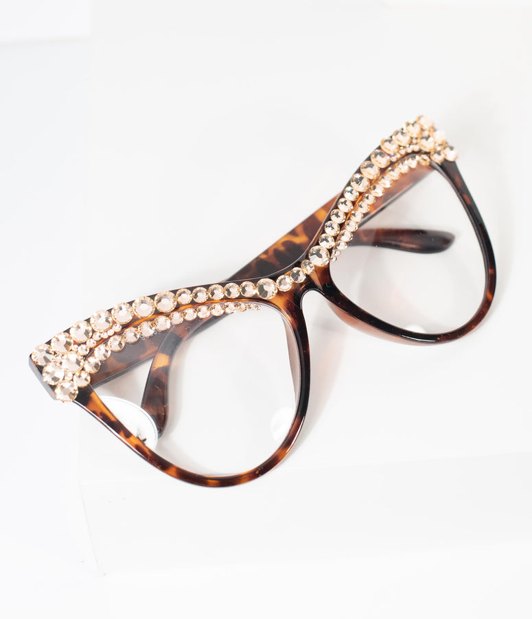 Tortoise Shell Rhinestone Cat Eye Glasses