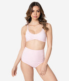 Light Pink & White Gingham Seersucker Two Piece Swim Set