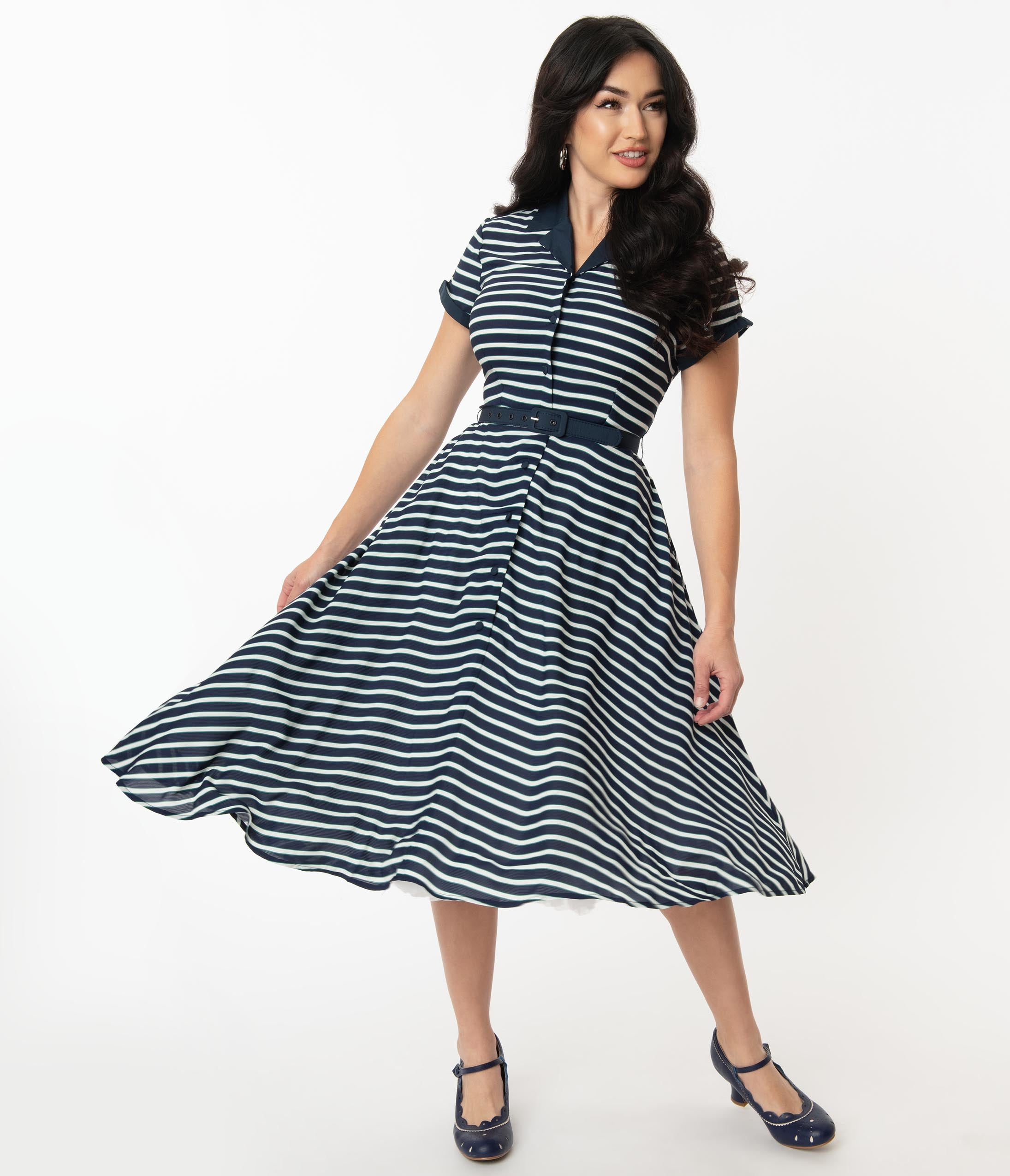 1950s Plus Size Fashion & Clothing History Unique Vintage 1950S Navy  White Stripe Alexis Swing Dress $78.00 AT vintagedancer.com