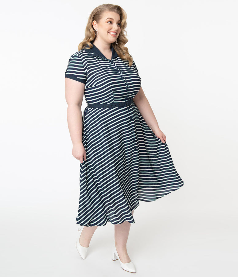 Unique Vintage Plus Size 1950s Navy & White Stripe Alexis Swing Dress