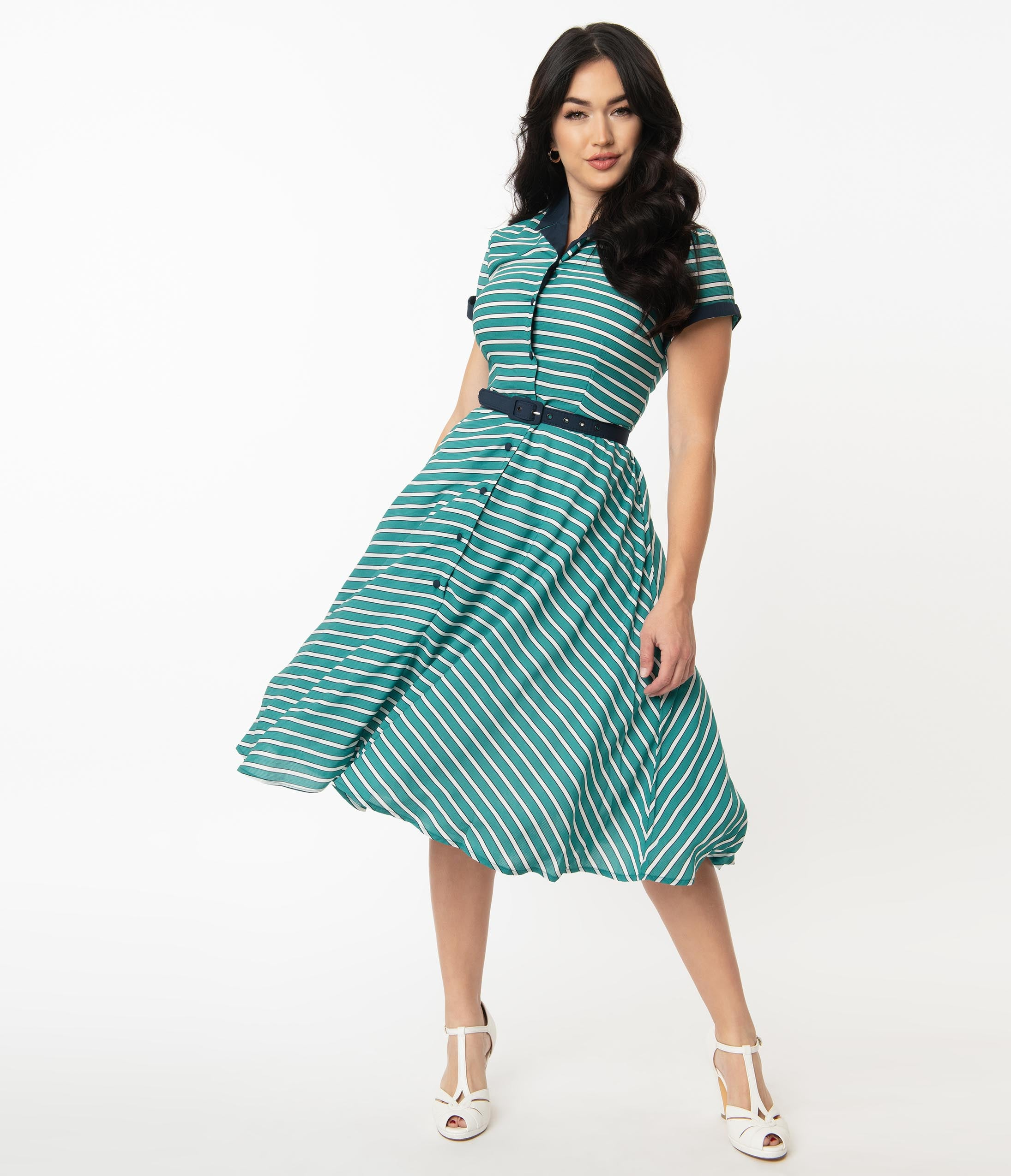 1950s Plus Size Fashion & Clothing History Unique Vintage 1950S Teal  White Stripe Alexis Swing Dress $78.00 AT vintagedancer.com