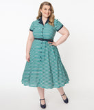 Unique Vintage Plus Size 1950s Teal & White Stripe Alexis Swing Dress