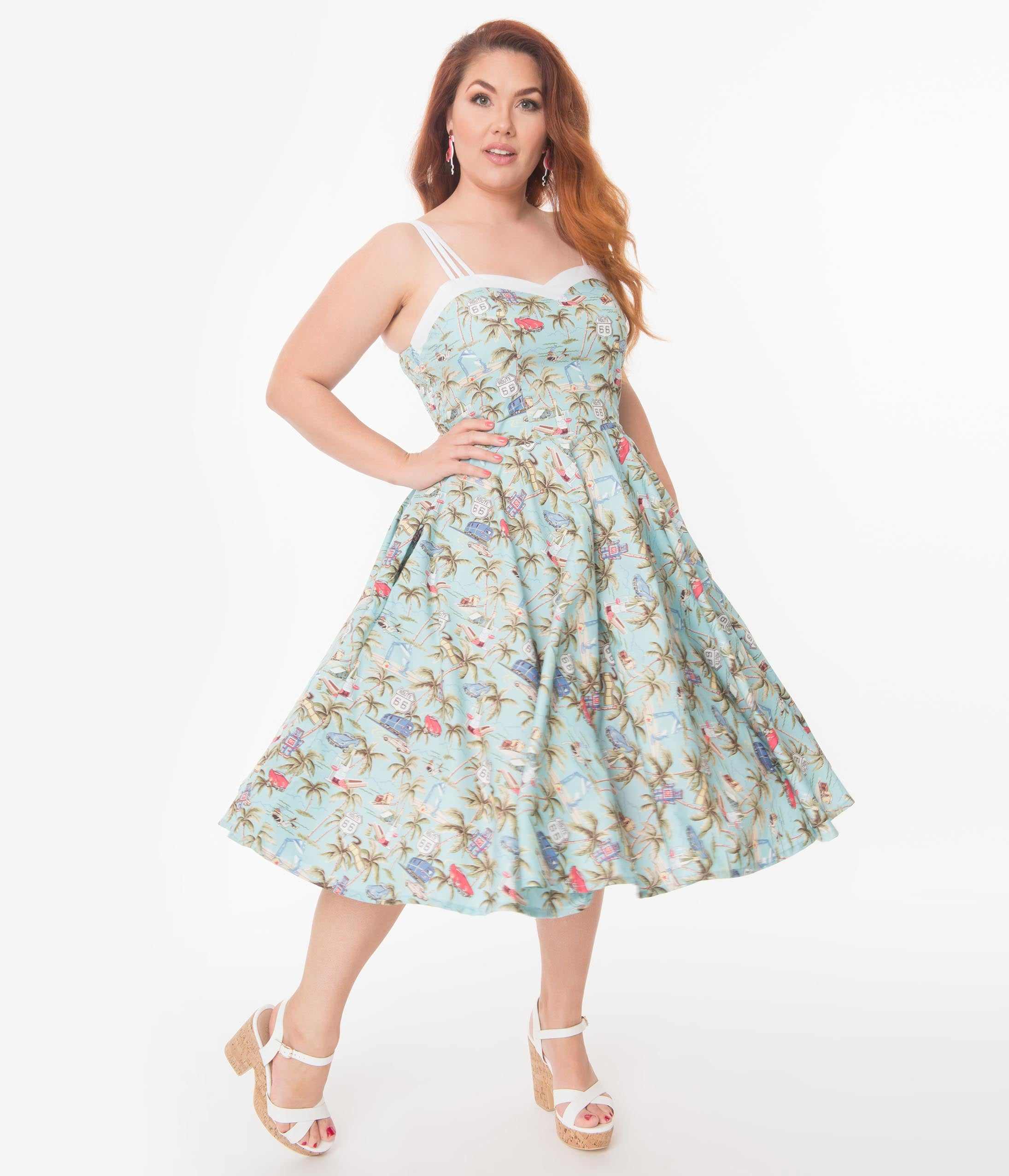 1950s Plus Size Dresses, Swing Dresses Plus Size 1950S Light Blue  Retro Tropical Print Candy Swing Dress $98.00 AT vintagedancer.com
