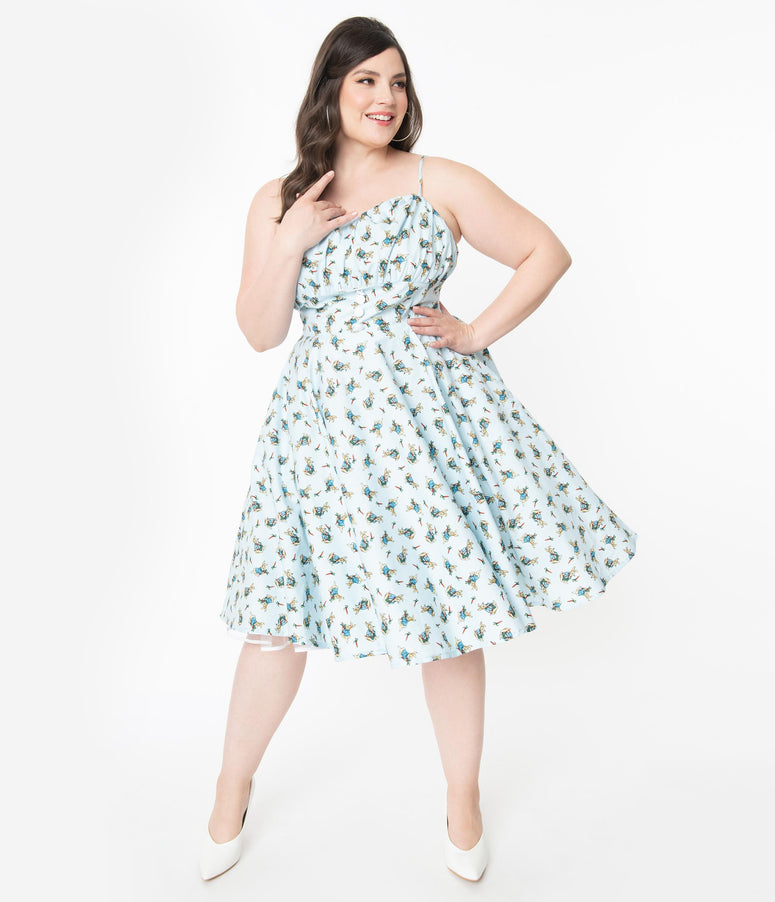 Plus Size 1950s Light Blue Bunny Print Dolly Swing Dress