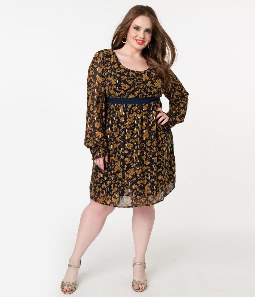 Smak Parlour Plus Size Dark Navy & Golden Floral Babe Alert Dress