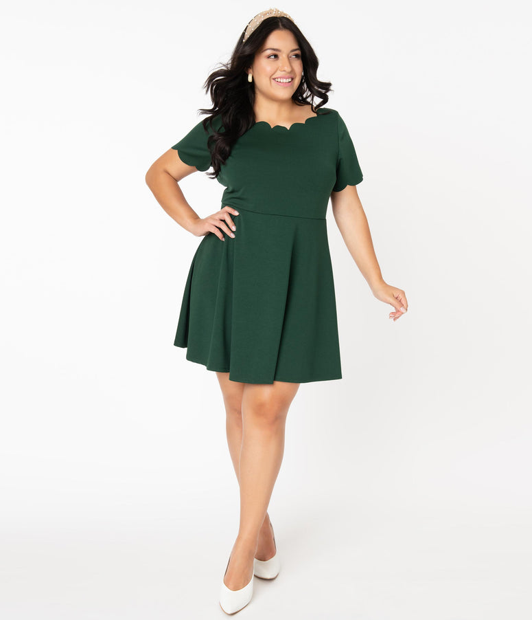 Smak Parlour Plus Size Hunter Green Charmed Fit & Flare Dress