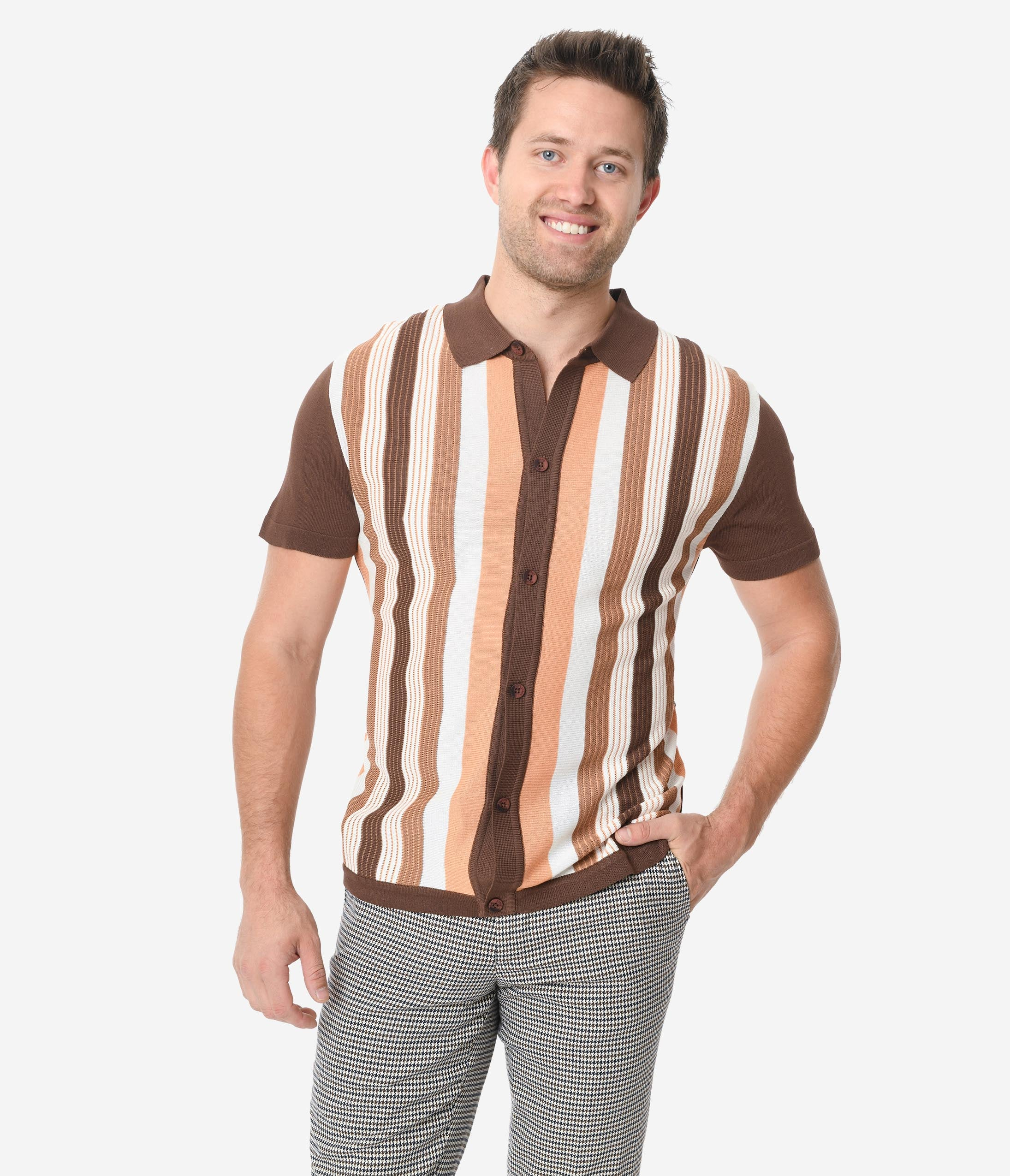1960s – 70s Mens Shirts- Disco Shirts, Hippie Shirts Brown  White Stripe Mens Button Sweater $72.00 AT vintagedancer.com