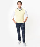 Navy Blue & Ivory Plaid Mens Pants