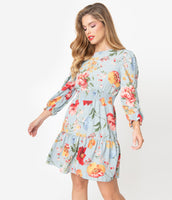 Back Zipper Banding Tiered Elasticized Waistline Straight Neck Long Sleeves Short Chiffon Floral Print Dress With Ruffles