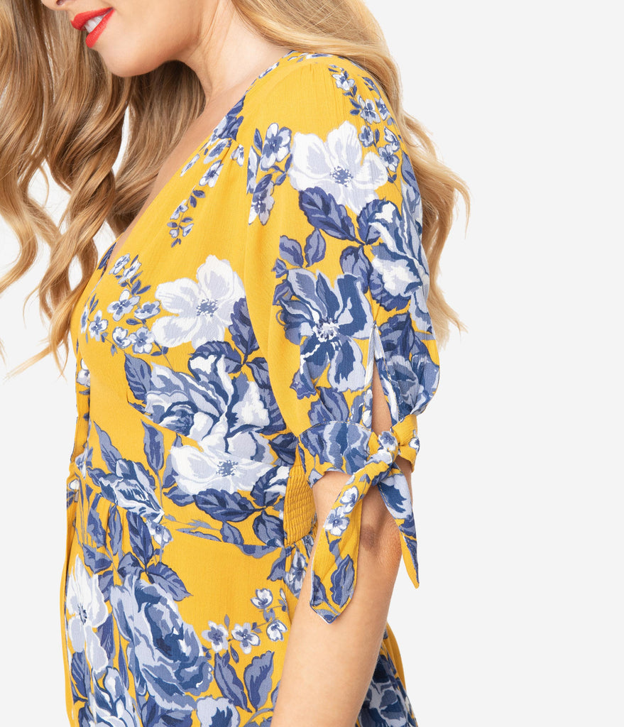 Mustard Yellow & Blue Floral Button Down Midi Dress