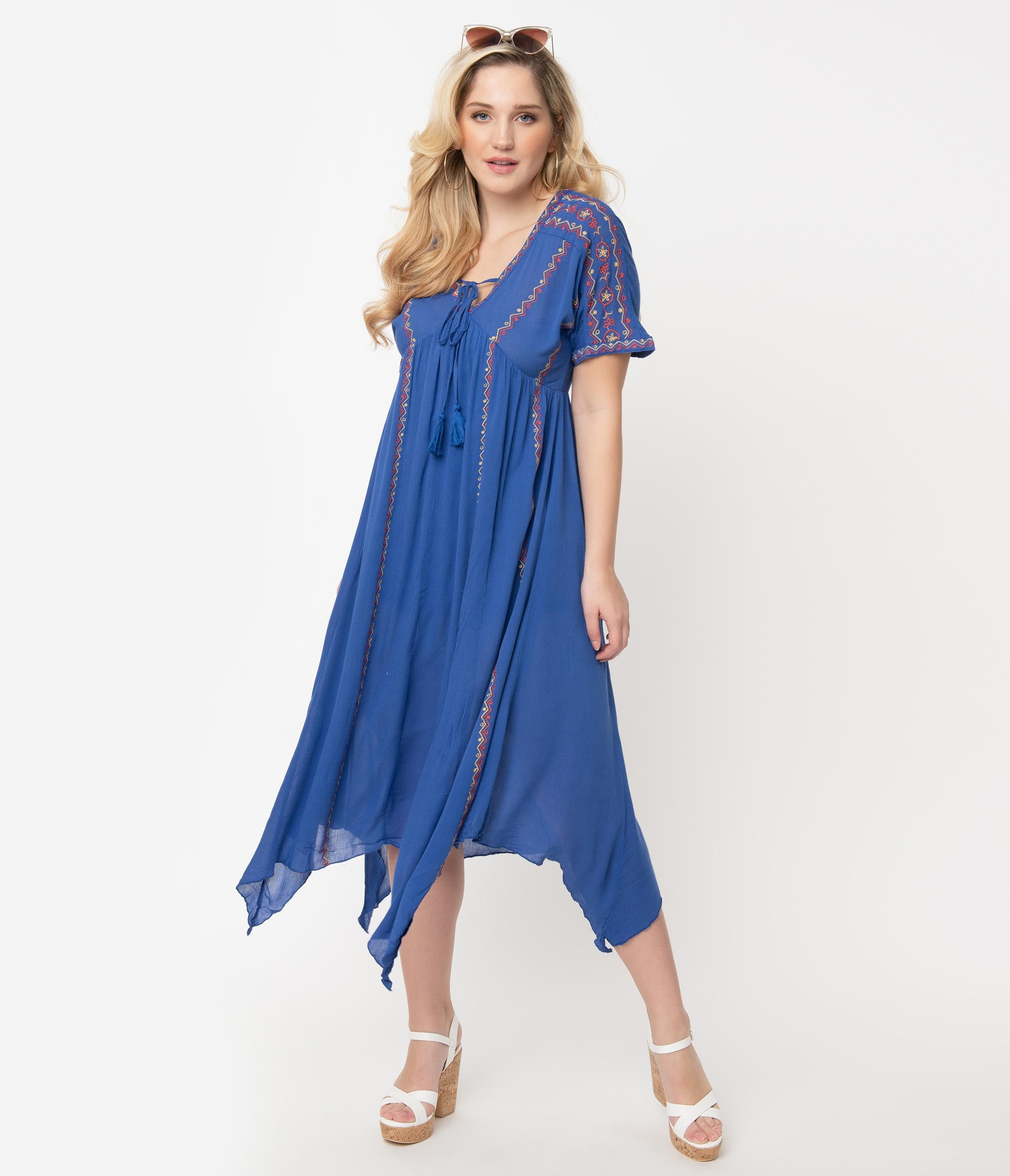 Sailor Dresses, Nautical Theme Dress, WW2 Dresses Royal Blue Embroidered Midi Dress $72.00 AT vintagedancer.com