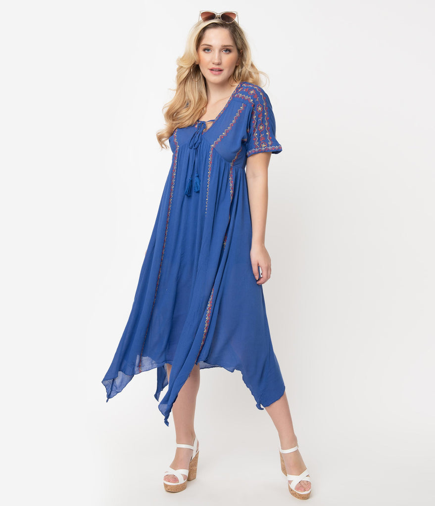 Royal Blue Embroidered Midi Dress