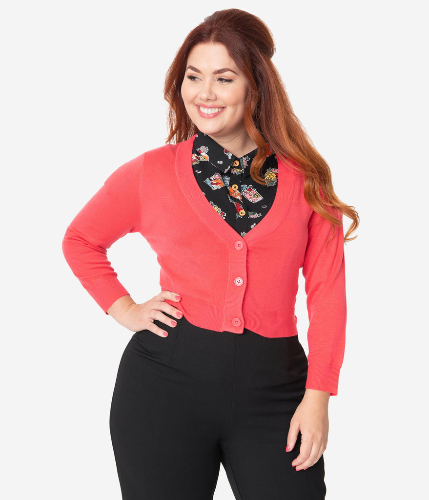 Plus Size Rose Pink Button Up Crop Cardigan