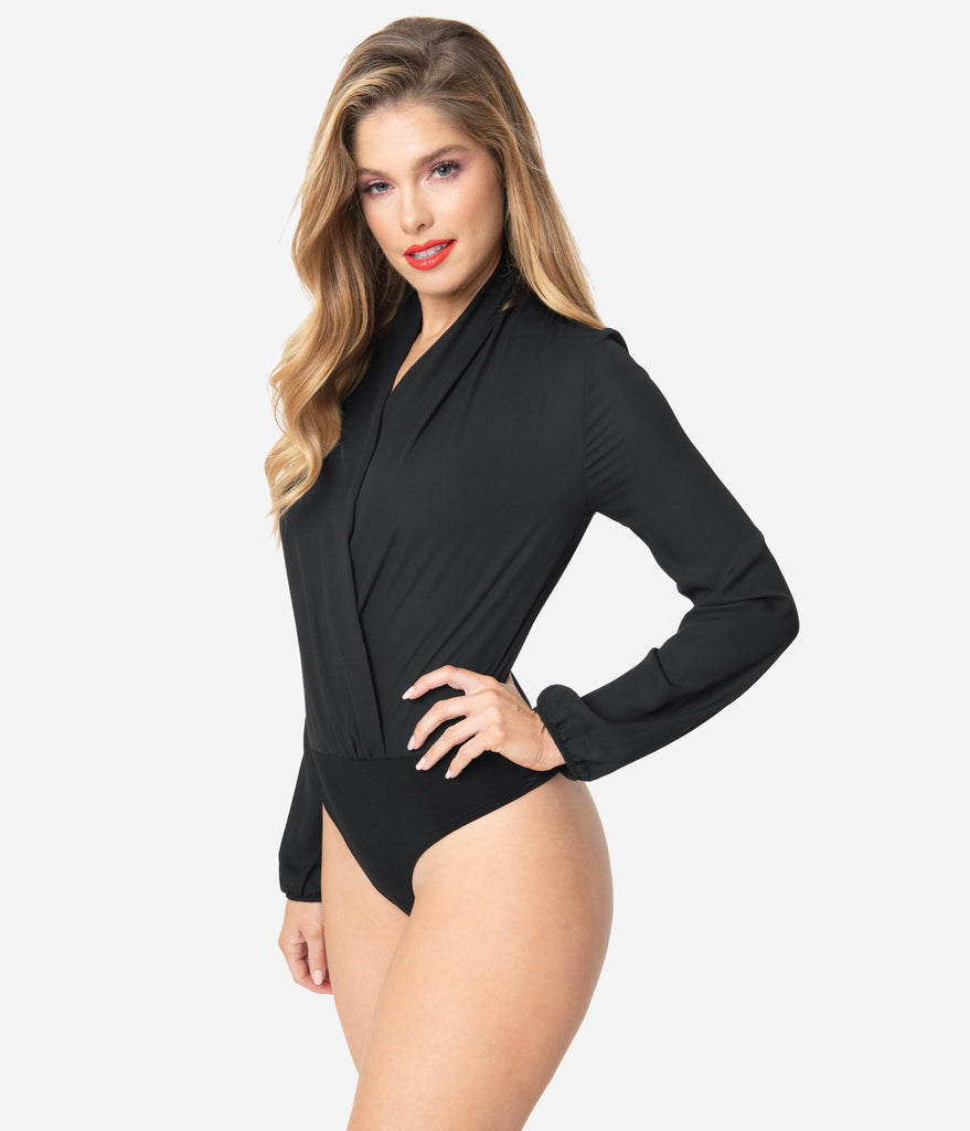 Black Long Sleeve Surplice Bodysuit