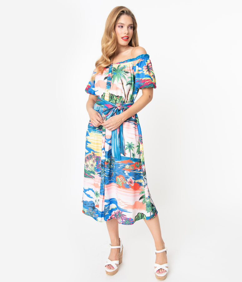 Blue Tropical Print Off the Shoulder Midi Dress