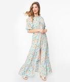 Retro Style Light Blue Floral Print Maxi Dress