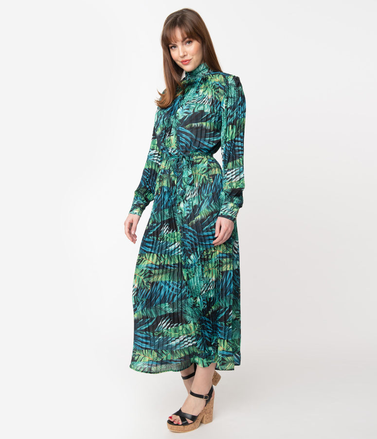 Retro Style Green Tropical Palm Print Maxi Dress