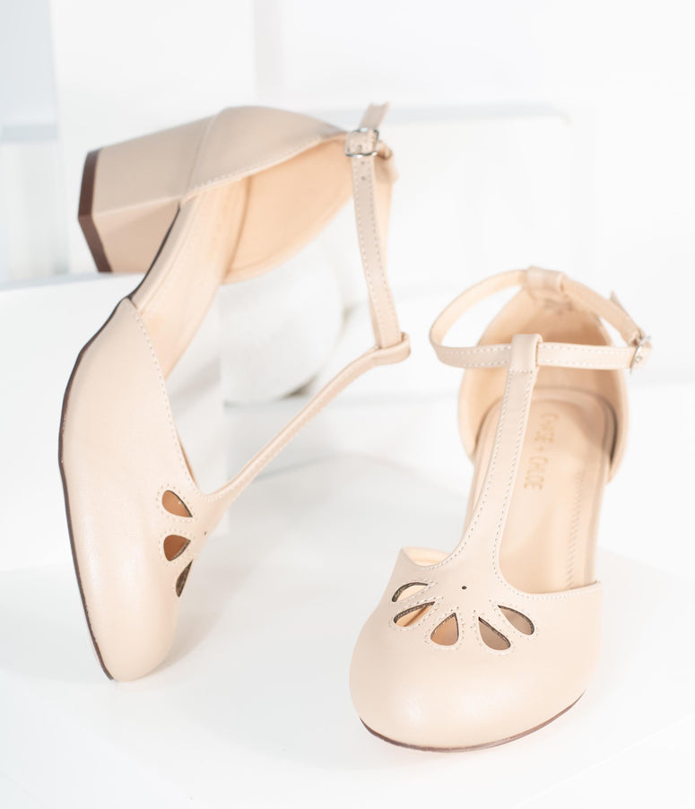 Light Beige Leatherette Minny T-Strap Heels