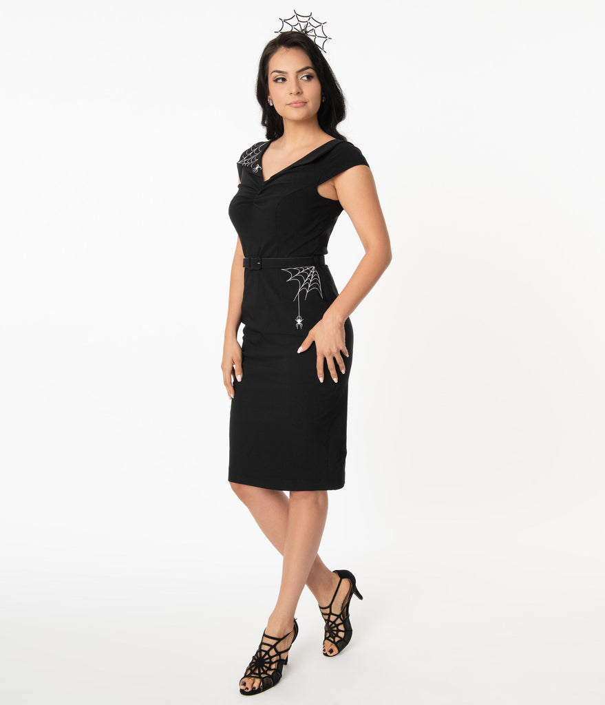 Hell Bunny Black Miss Muffet Pencil Dress